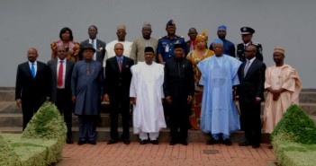 President  Jonathan flanked by the members of the committee of the Victim support Fund, Me (Top right)