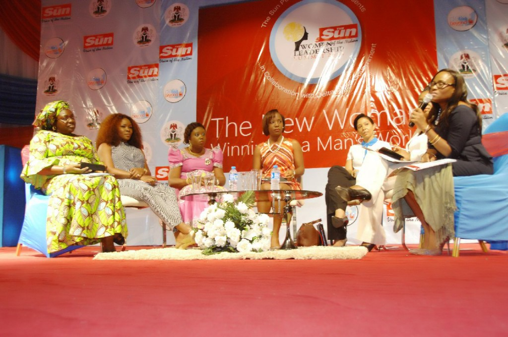 From Left to Right, Ms. Helen Emore Managing Director Warri Industrial Park,  Omawunmi Megbele,  Maupe Ogun of Channels TV, Nkemdilim Begho Managing Director of Future Software Resources Ltd, Dr Ufuoma Okotete Managing Director of Diamond Helix Medical Assistance, Funke Bucknor-Obruthe Managing Director/CEO, Zapphire Events during panelist discussion session