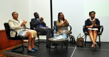 From Left to Right: Mrs. Folasade Adefisayo,Mr. Debo Adejana,Mrs Toki Maboguiye during panelist discussion session.