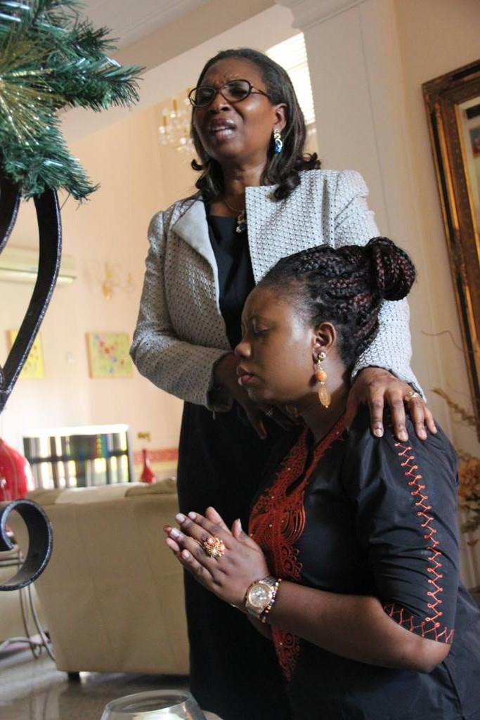 Mrs Ibukun Awosika blessing me