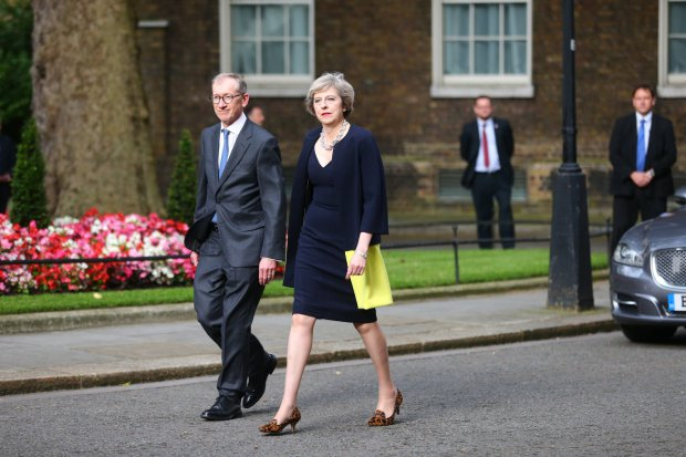 New Prime Minister Theresa May arrives with her husband Philip at Downing Street, London. July 13, 2016.  May takes over the reins of the Government after David Cameron resigned, following his failure to get the public backing in the EU referendum.