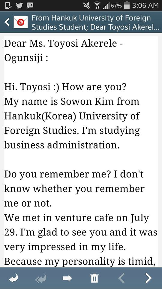 Email from Sowon Kim